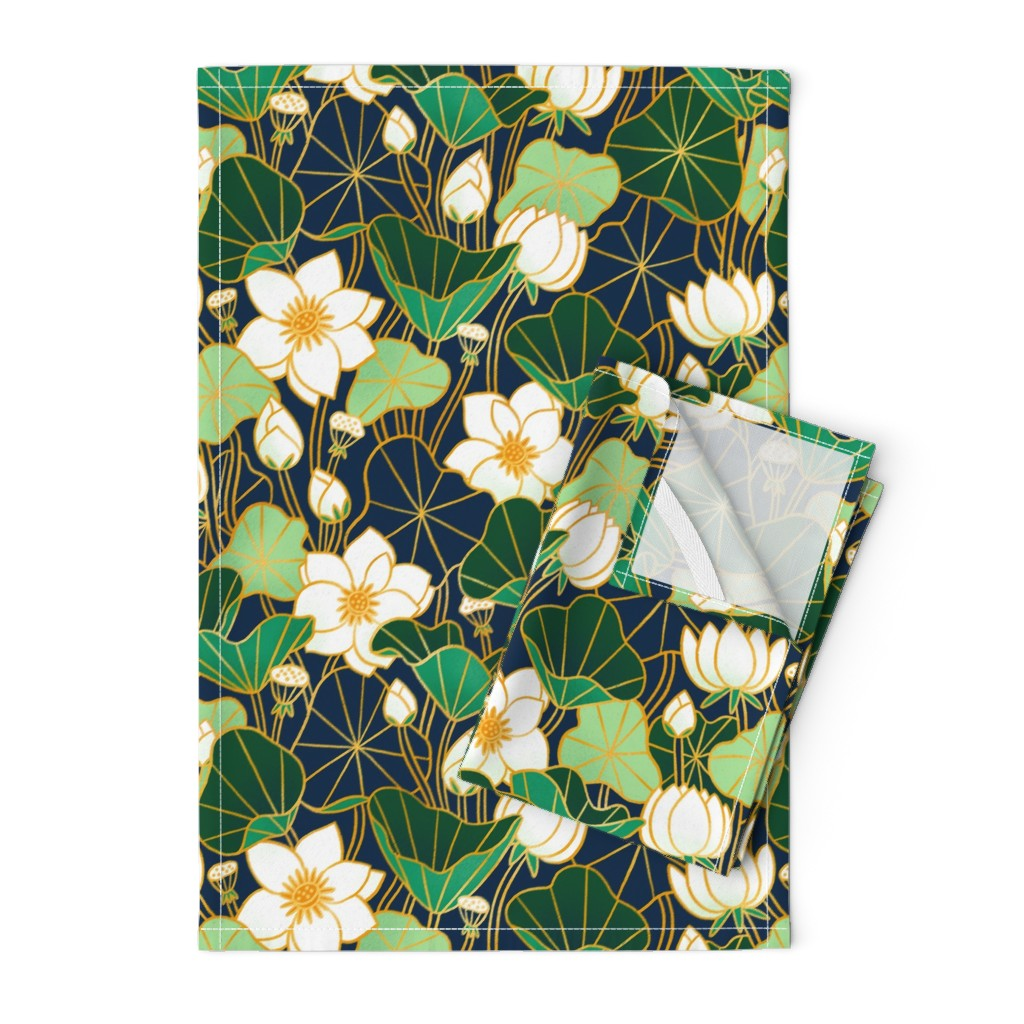 Orpington Tea Towels featuring Lily pond large scale floral bohemian pattern by stolenpencil