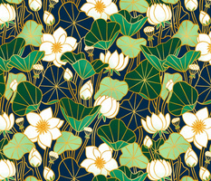Lily pond large scale floral bohemian pattern