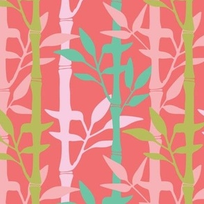 Tropical Bamboo Pink Green Red