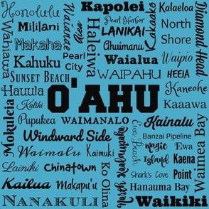 Places of Oahu, aqua and black