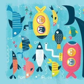 Submarine Cats Tea Towel