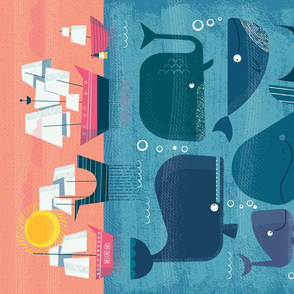 Whales Tea Towel