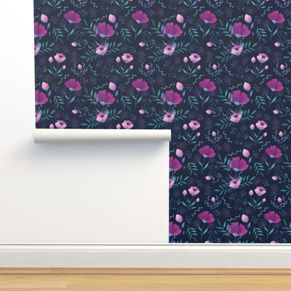Isobar Durable Wallpaper featuring Moody flowers by kat-designs