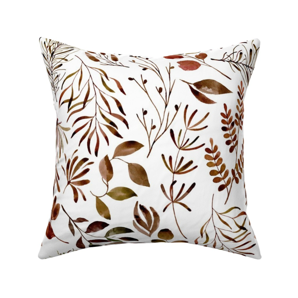 Catalan Throw Pillow featuring Autumn Fall leaves nature botanical home decor prints by erin__kendal