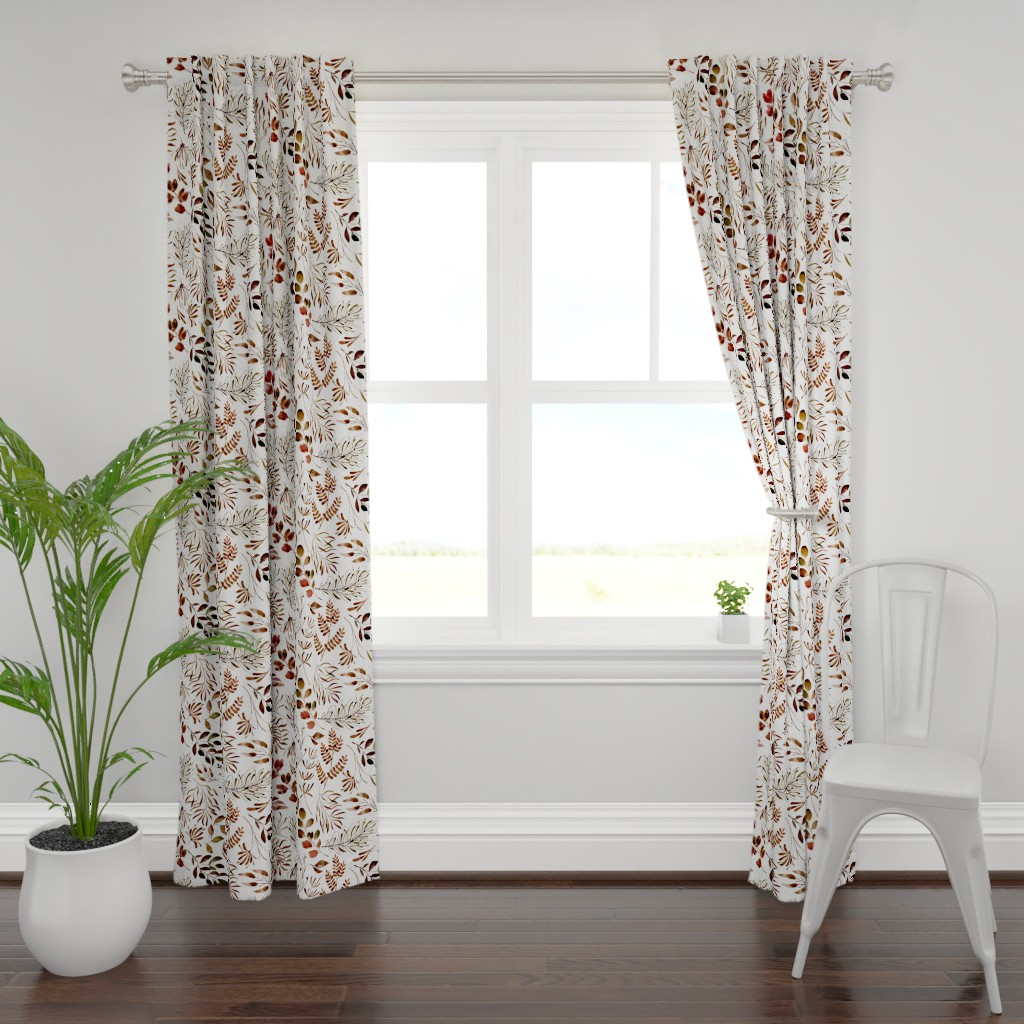 Plymouth Curtain Panel featuring Autumn Fall leaves nature botanical home decor prints by erin__kendal