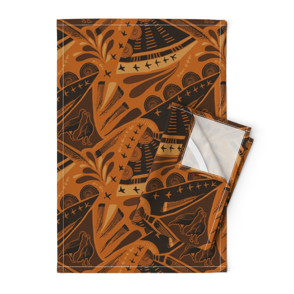 Orpington Tea Towels featuring turkeys-wild-copper rust by wren_leyland
