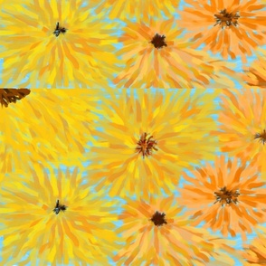 Painted Apricot Yellows Sunflowers