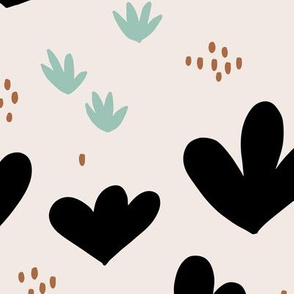 Little abstract coral flowers paper cut modern abstract pond beach theme mint copper black JUMBO
