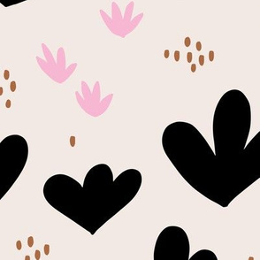 Little abstract coral flowers paper cut modern abstract pond beach theme mint copper black