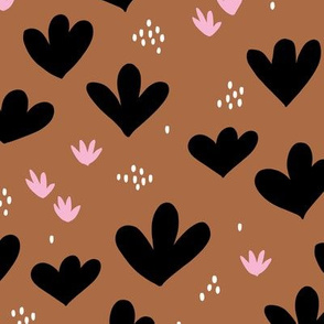 Little abstract coral flowers paper cut modern abstract pond beach theme copper pink black