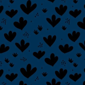 Little abstract coral flowers paper cut modern abstract pond beach theme black navy blue