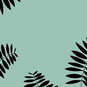 Palm leaves abstract minimal botanical summer garden monochrome black mint JUMBO
