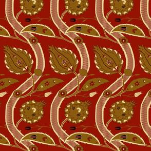 Ottoman Vines-Red