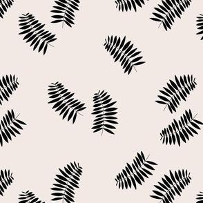 Palm leaves abstract minimal botanical summer garden monochrome black off white