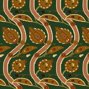 Ottoman Vines-Green