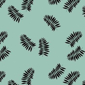 Palm leaves abstract minimal botanical summer garden monochrome black mint