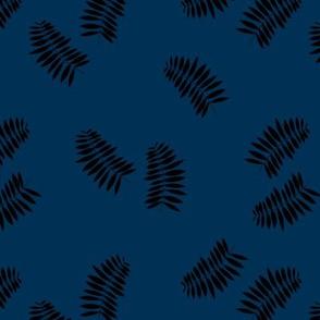 Palm leaves abstract minimal botanical summer garden monochrome black navy blue winter