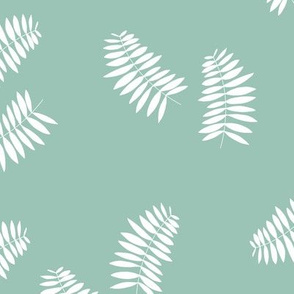 Palm leaves abstract minimal botanical summer garden white mint