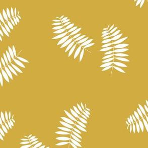 Palm leaves abstract minimal botanical summer garden white mustard yellow