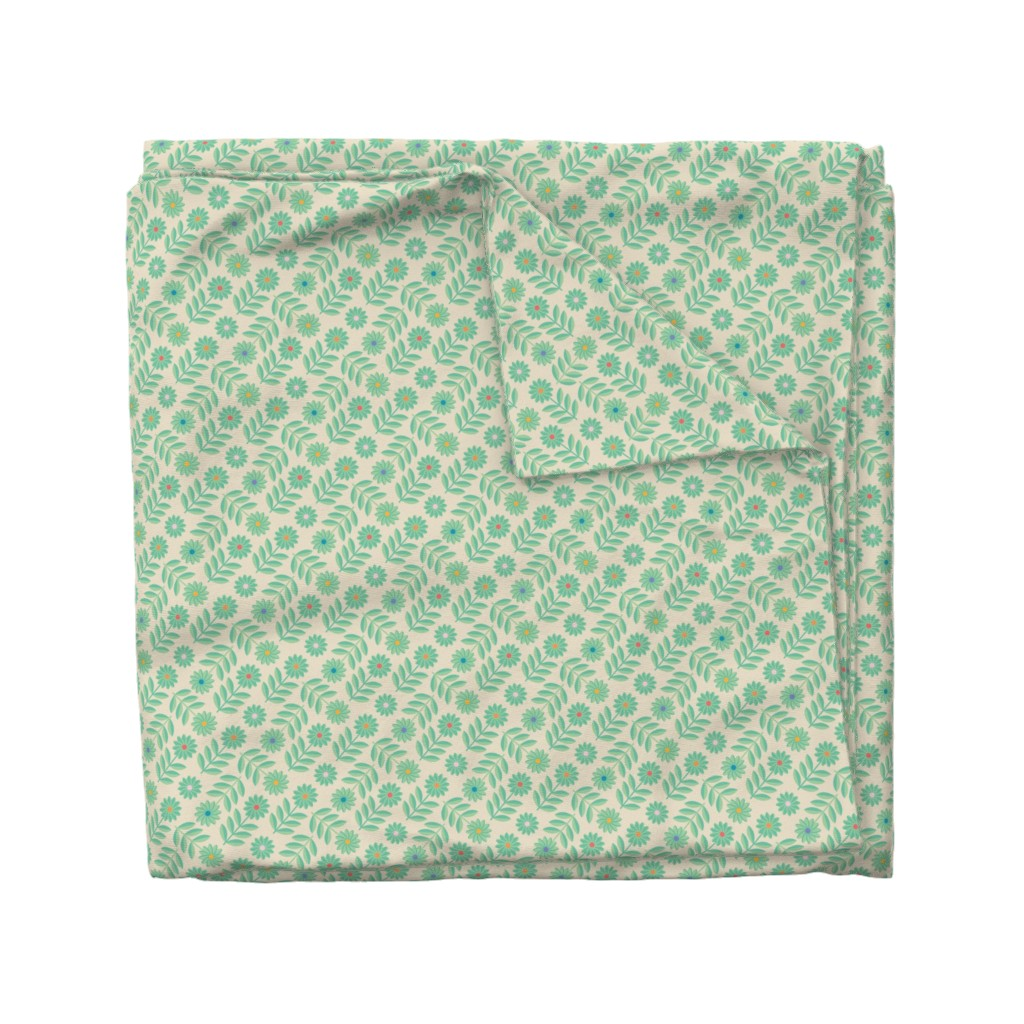 Wyandotte Duvet Cover featuring Folk Daisy Geometrical Floral Polka Dot Green by unblinkstudio-by-jackietahara
