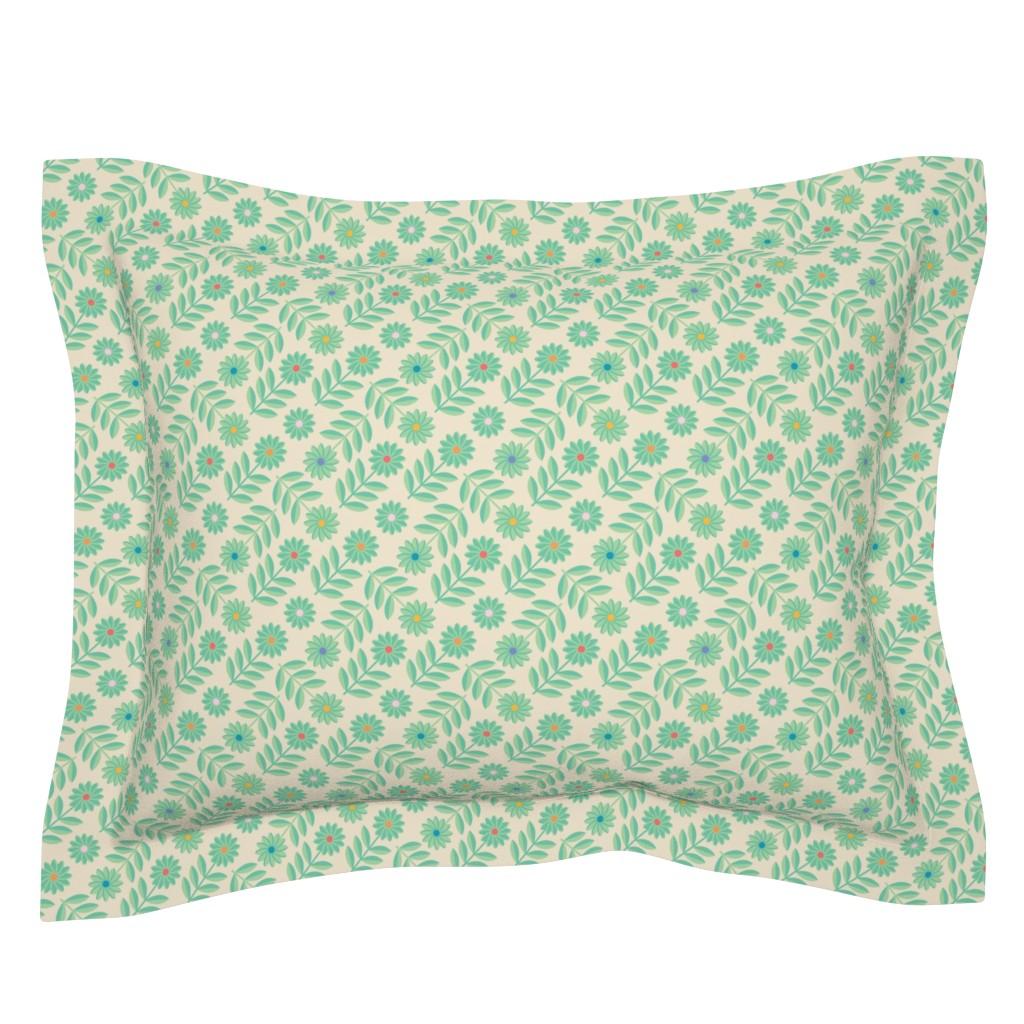 Sebright Pillow Sham featuring Folk Daisy Geometrical Floral Polka Dot Green by unblinkstudio-by-jackietahara