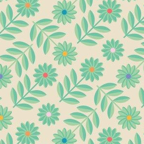 Folk Daisy Geometrical Floral Polka Dot Green