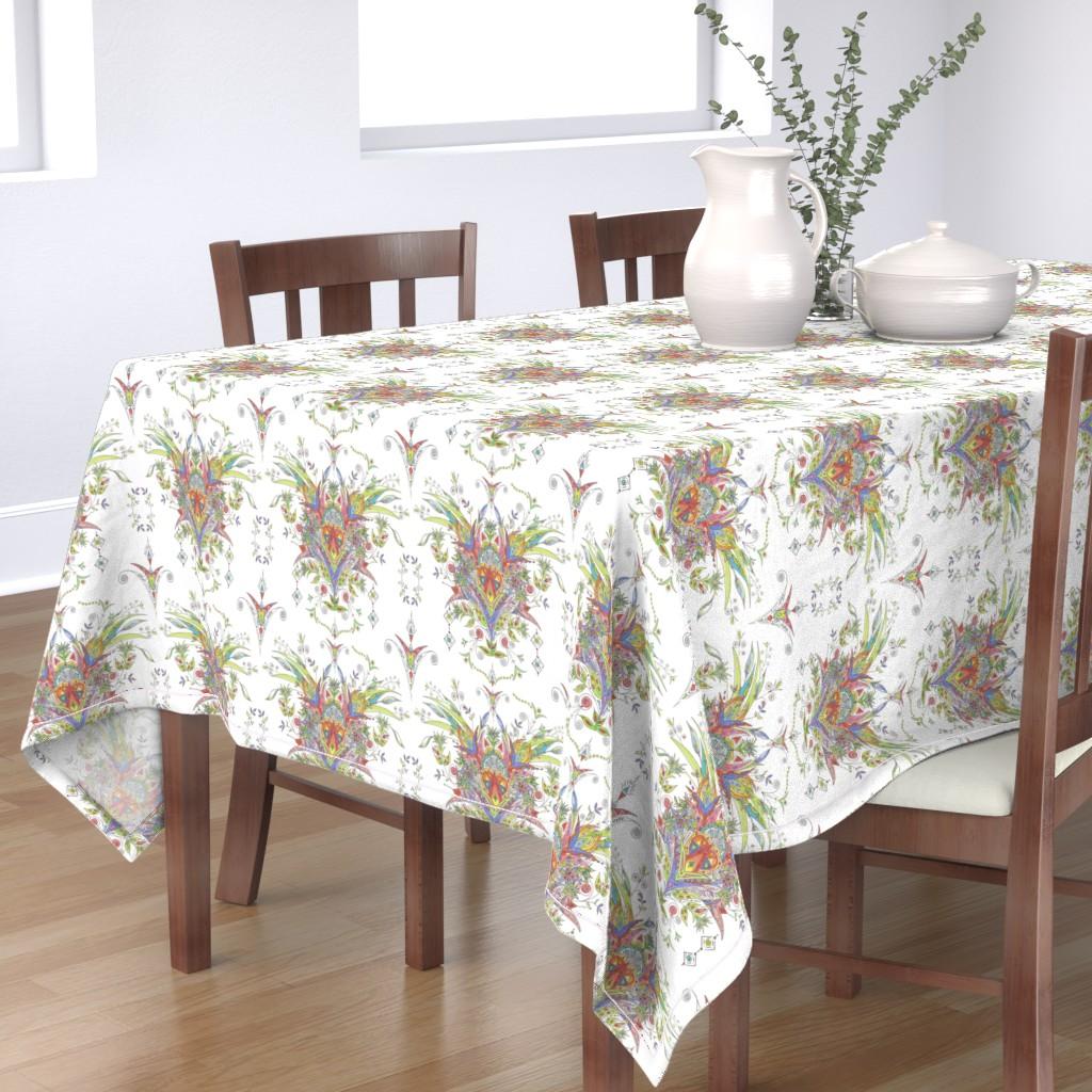 Bantam Rectangular Tablecloth featuring Boho Whimsical Garden by paisleylady