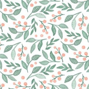 Sweet Blush Berries and Mint Leaves by Angel Gerardo