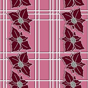 Christmas poinsettia checks  on dusty pink