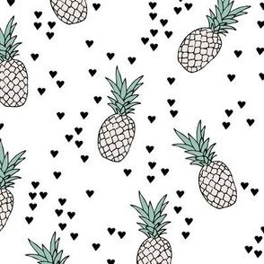 Tropical pineapple garden botanical summer boho print  mint beige