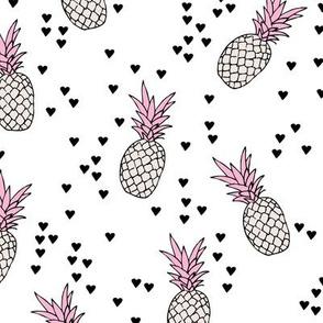 Tropical pineapple garden botanical summer boho print pink beige