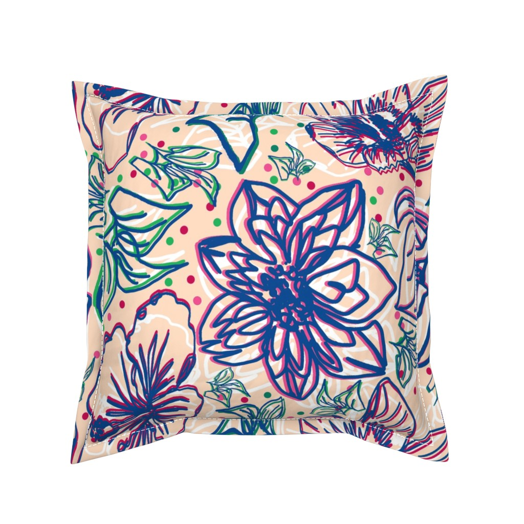 Serama Throw Pillow featuring Hibiscus Lines pale cream  by lorloves_design