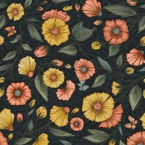 Wild Anemones in Dark