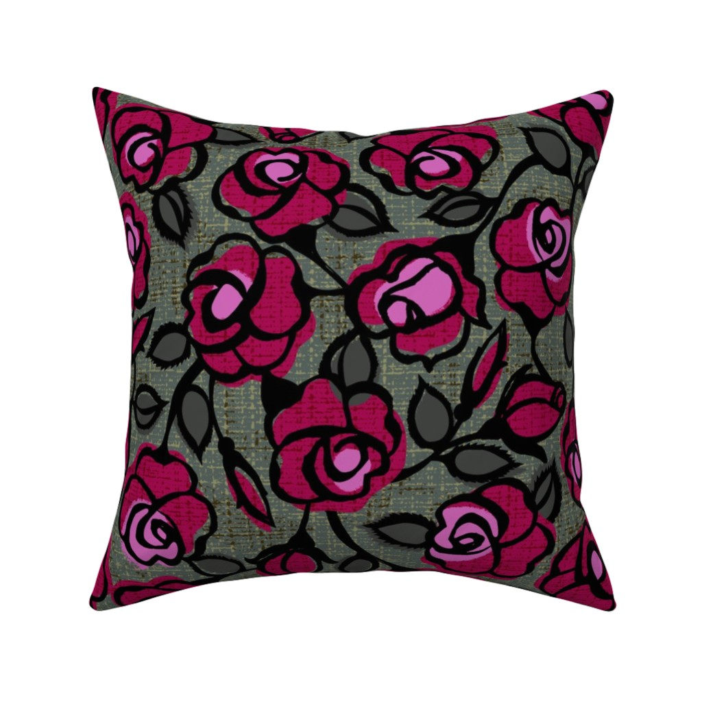 Catalan Throw Pillow featuring dark red roses by ottomanbrim