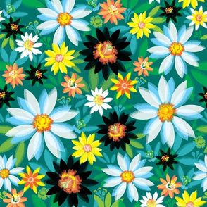 White and Yellow Daisies on Deep Teal