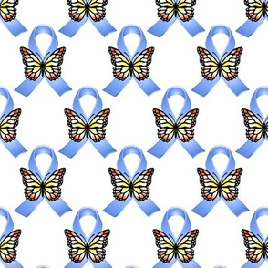 Blue Ribbons with Yellow Orange Butterflies
