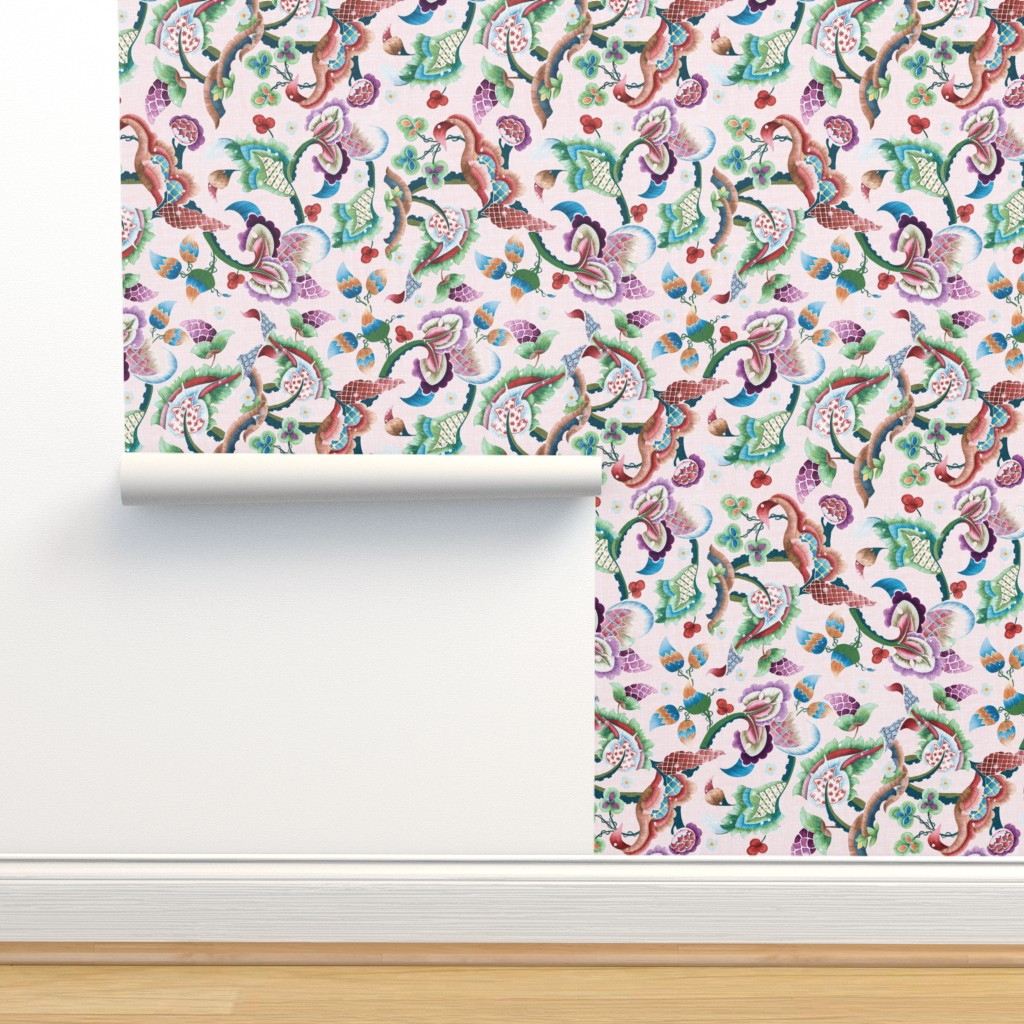 Isobar Durable Wallpaper featuring pardis - Jacobean embroidery repro by bound_textiles
