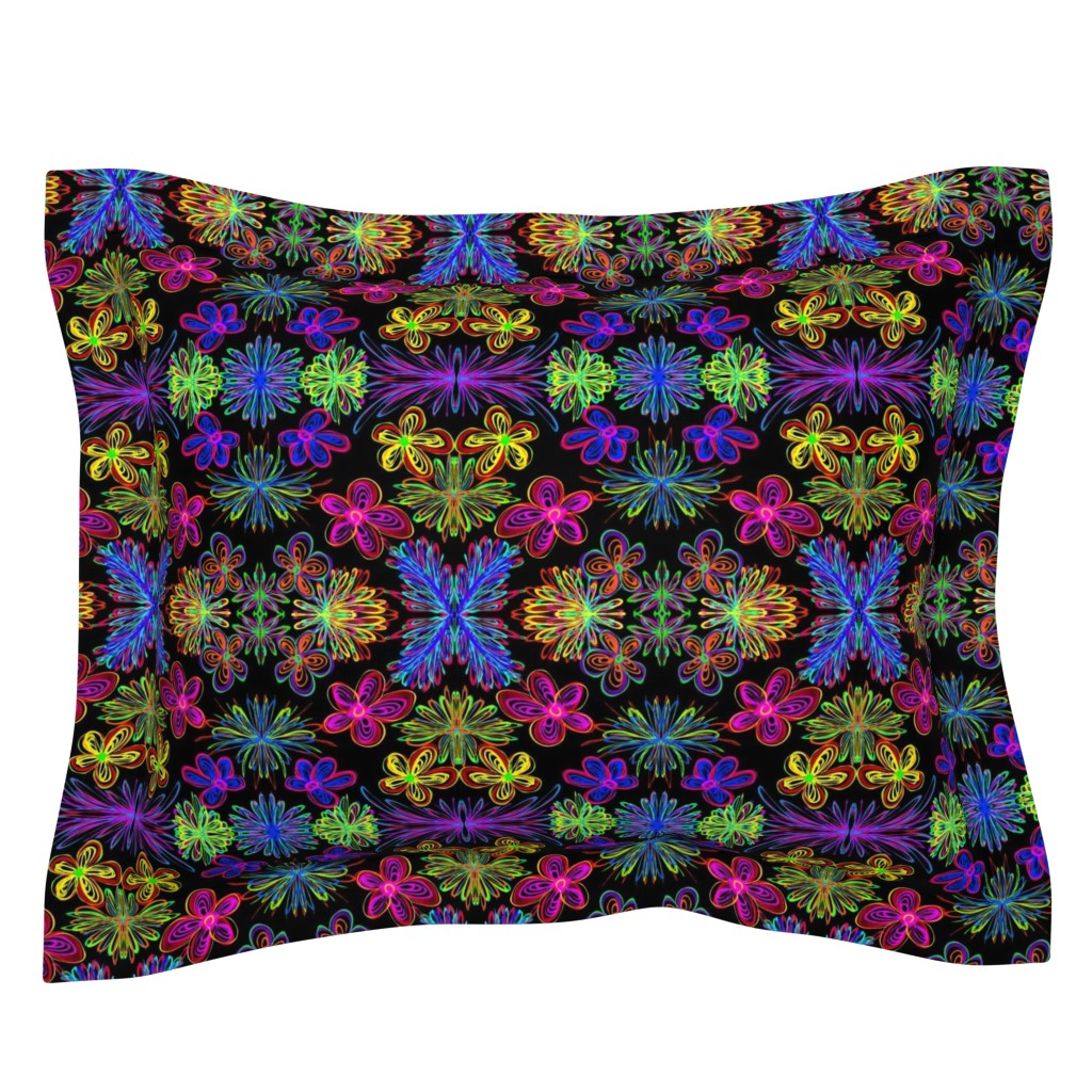 Sebright Pillow Sham featuring Lush and Lovely Boho Blooms on Black - Large Scale by rhondadesigns