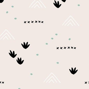 Paper cut and mudcloth minimal abstract design ethnic boho summer beige black