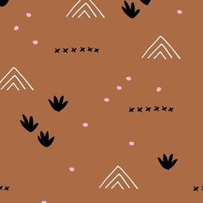 Paper cut and mudcloth minimal abstract design ethnic boho summer copper fall brown