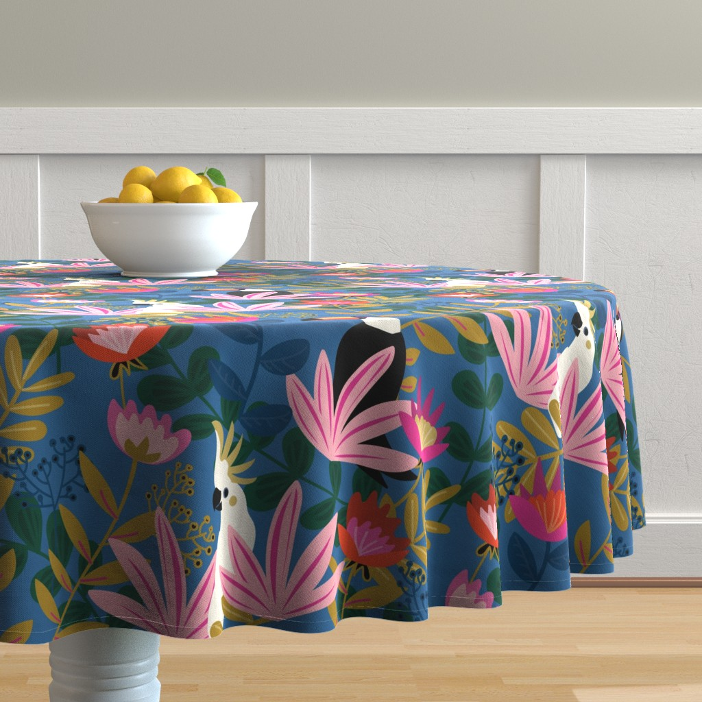 Malay Round Tablecloth featuring Bohemian Paradise-Medium Scale by jenflorentine