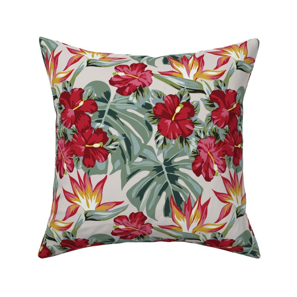 Catalan Throw Pillow featuring Hibiscus Heaven by kittenmoonstudio
