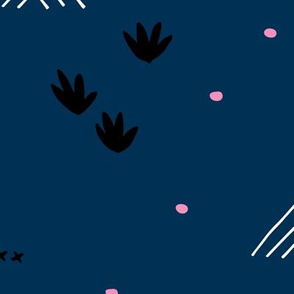 Paper cut and mudcloth minimal abstract design ethnic boho winter navy blue JUMBO