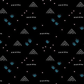 Paper cut and mudcloth minimal abstract design ethnic boho winter black blue pink girls SMALL