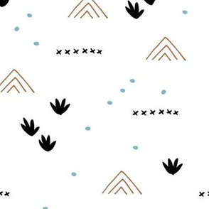 Paper cut and mudcloth minimal abstract design ethnic boho summer copper blue fall brown