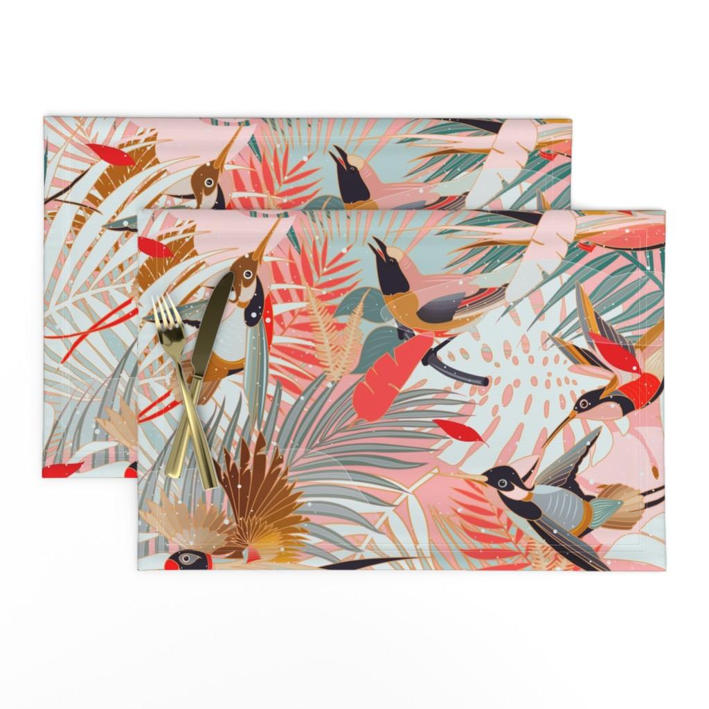 Lamona Cloth Placemats featuring Boho Birds / Bohemian Paradise by evamatise