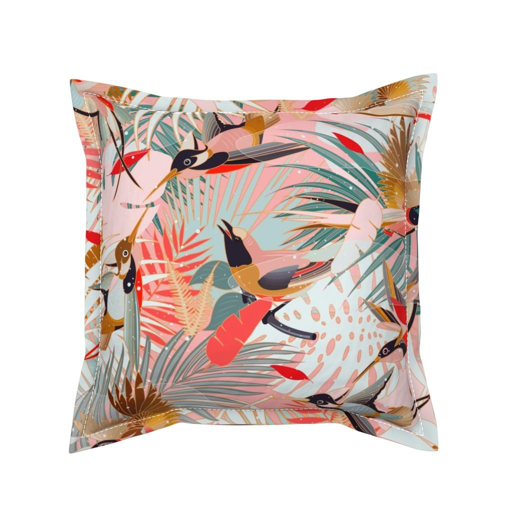 Serama Throw Pillow featuring Boho Birds / Bohemian Paradise by evamatise