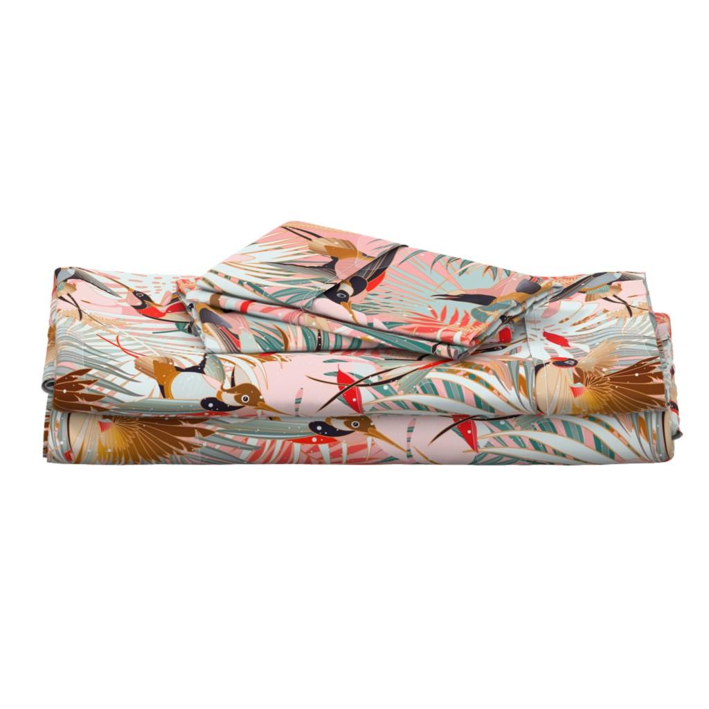 Langshan Full Bed Set featuring Boho Birds / Bohemian Paradise by evamatise