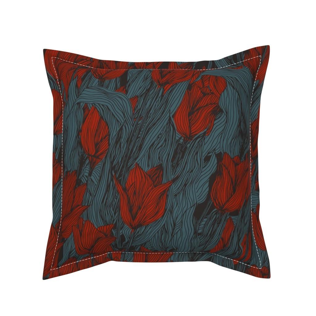 Serama Throw Pillow featuring Sombre Tulips by seesawboomerang