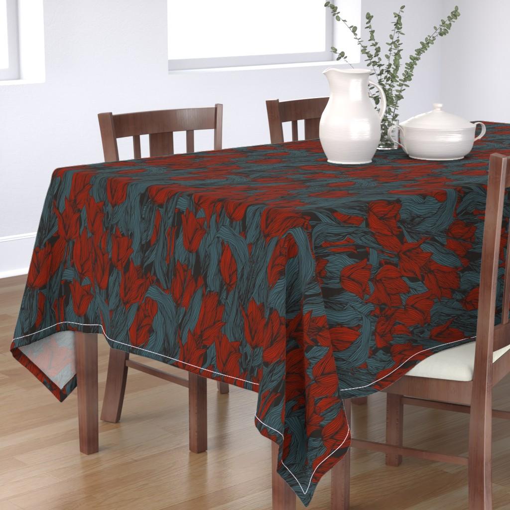 Bantam Rectangular Tablecloth featuring Sombre Tulips by seesawboomerang